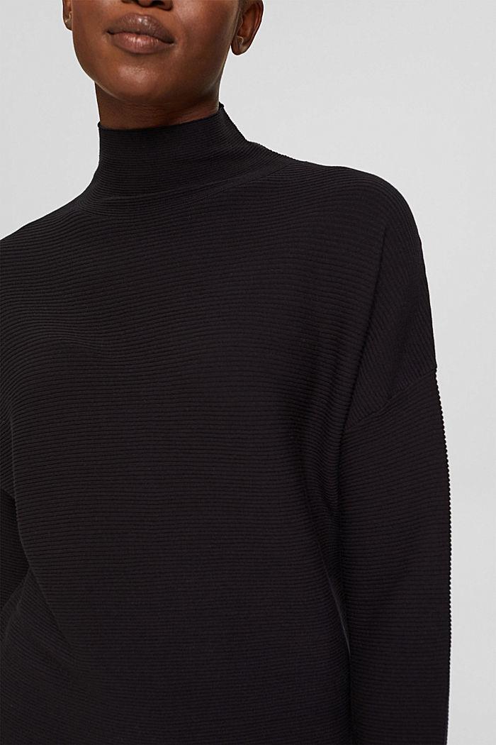 Gerippter Pullover mit LENZING™ ECOVERO™, BLACK, detail image number 2