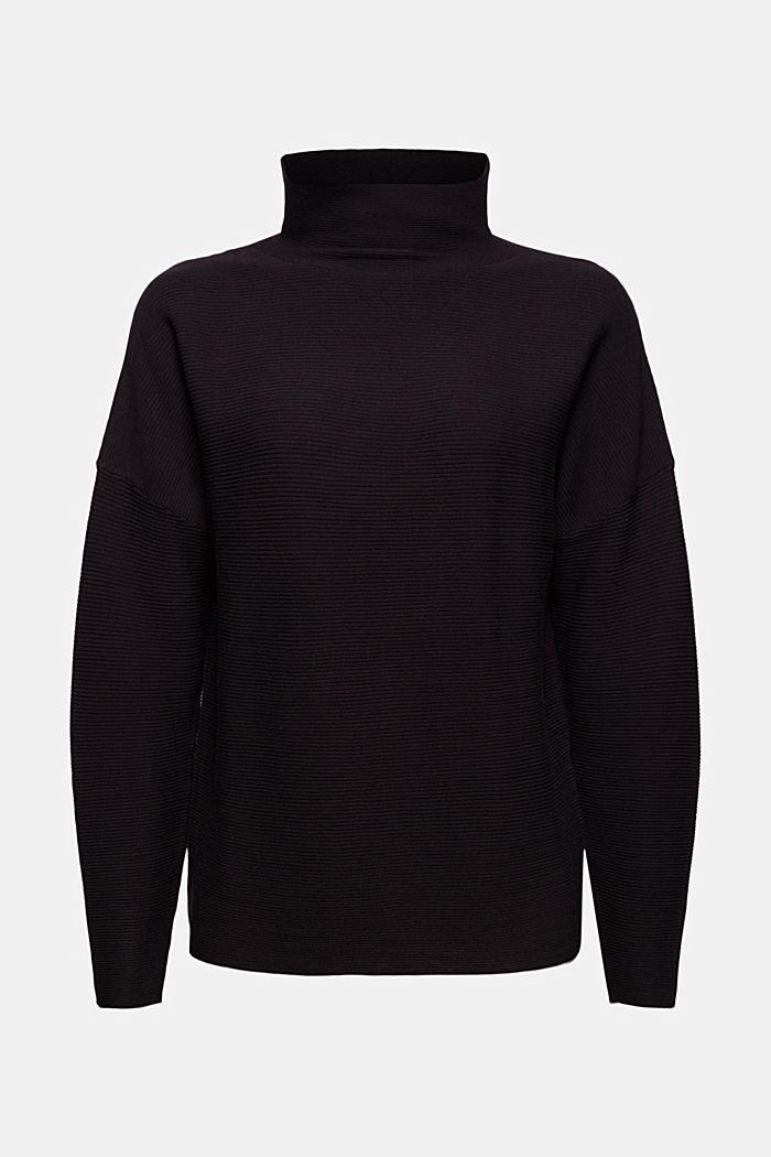 Gerippter Pullover mit LENZING™ ECOVERO™, BLACK, detail image number 7