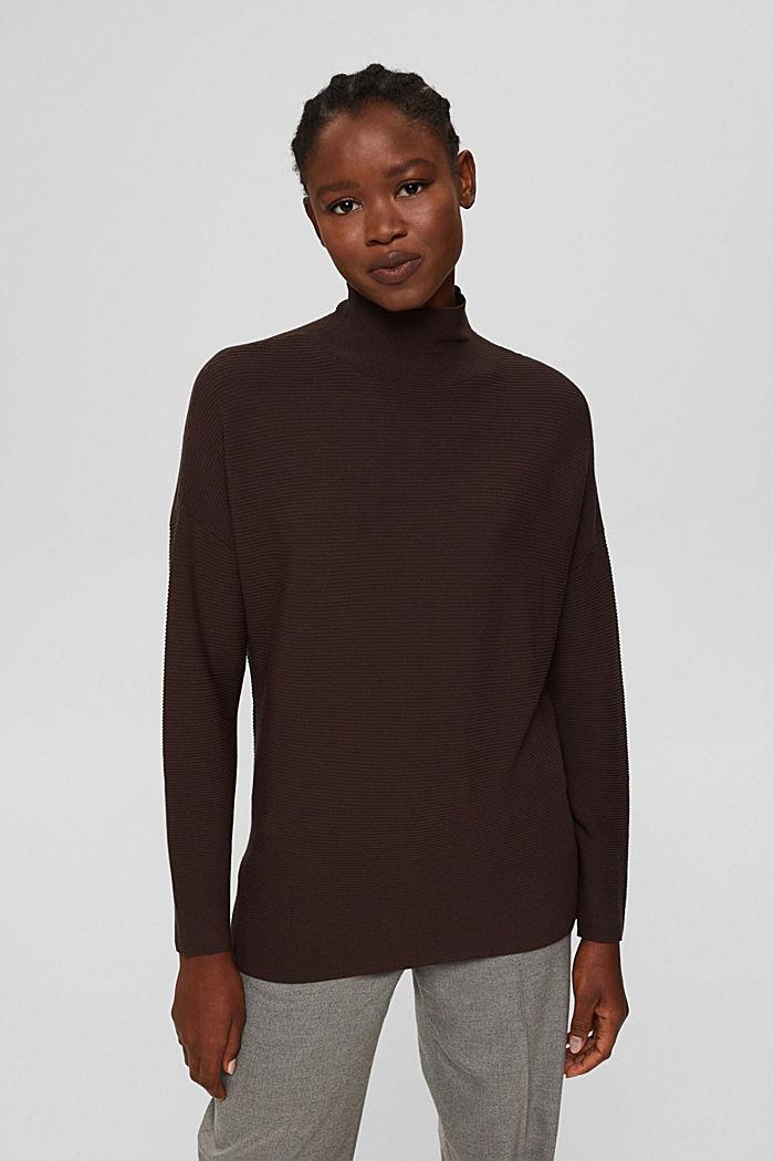 Gerippter Pullover mit LENZING™ ECOVERO™, DARK BROWN, detail image number 0