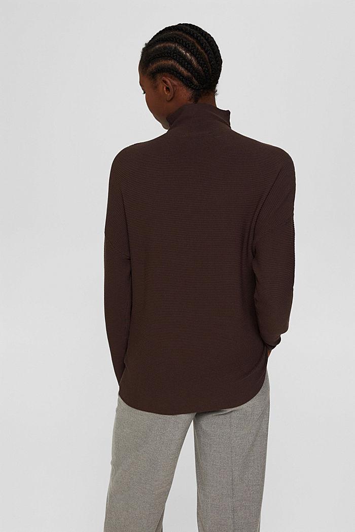 Gerippter Pullover mit LENZING™ ECOVERO™, DARK BROWN, detail image number 3