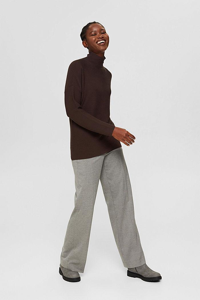 Gerippter Pullover mit LENZING™ ECOVERO™, DARK BROWN, detail image number 5