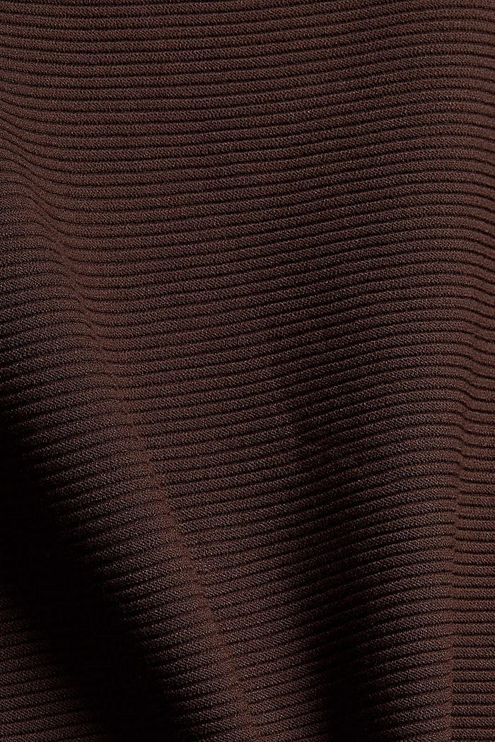 Gerippter Pullover mit LENZING™ ECOVERO™, DARK BROWN, detail image number 4