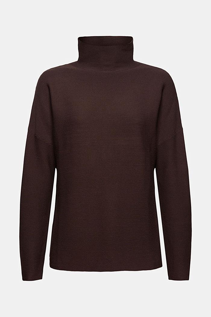 Gerippter Pullover mit LENZING™ ECOVERO™, DARK BROWN, detail image number 6
