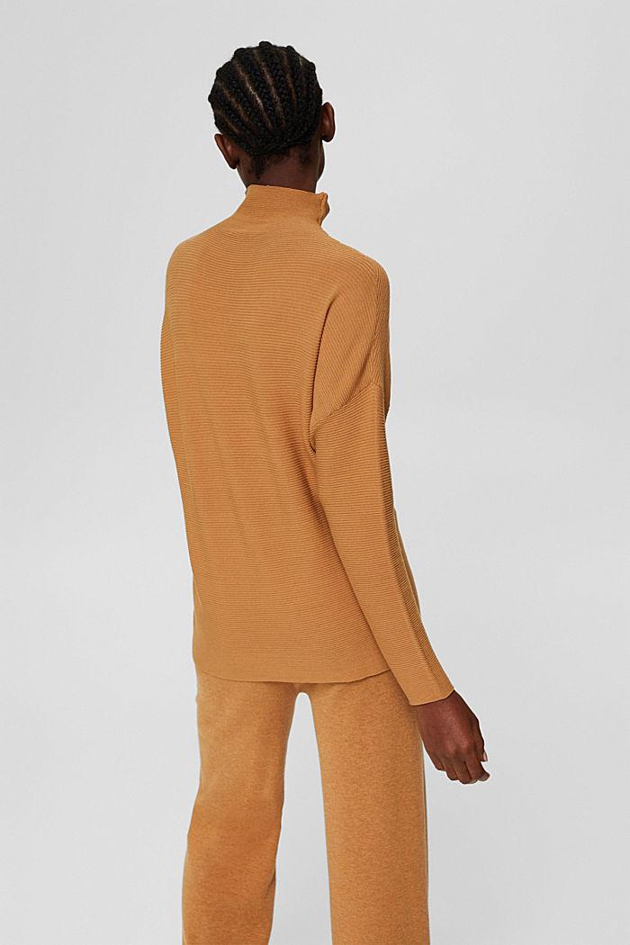 Gerippter Pullover mit LENZING™ ECOVERO™, CARAMEL, detail image number 3