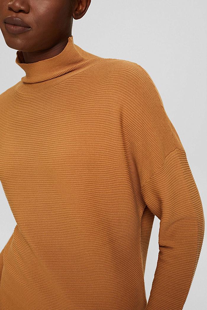Gerippter Pullover mit LENZING™ ECOVERO™, CARAMEL, detail image number 2