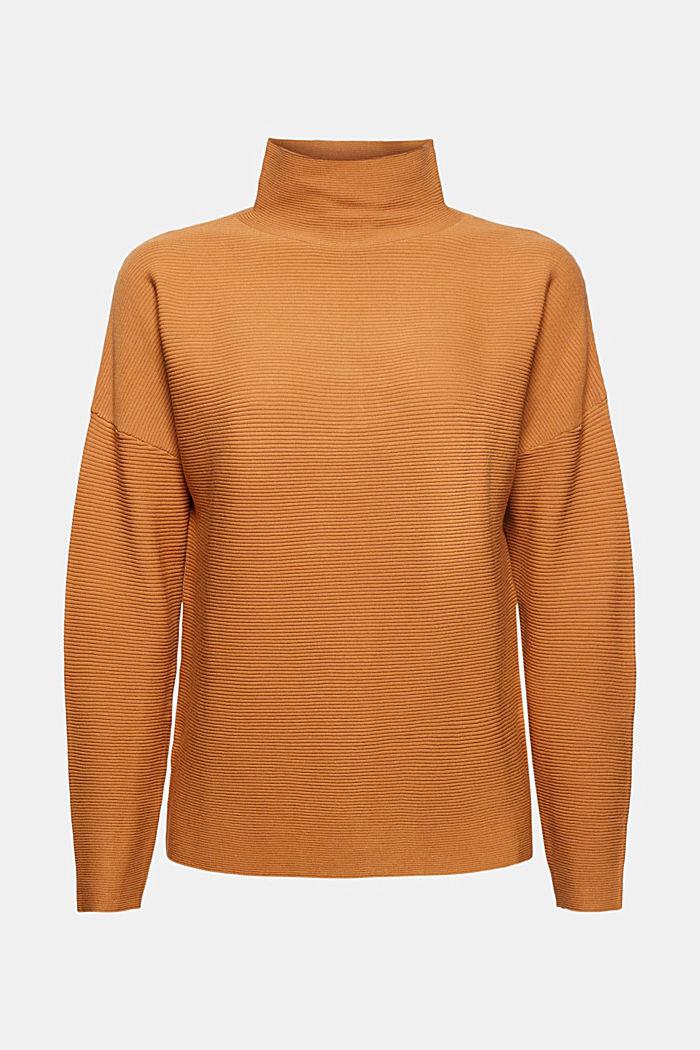 Gerippter Pullover mit LENZING™ ECOVERO™, CARAMEL, detail image number 8
