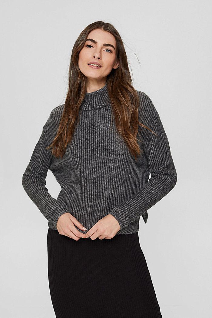 En laine mélangée: le pull-over côtelé au look bicolore, GUNMETAL, detail image number 0