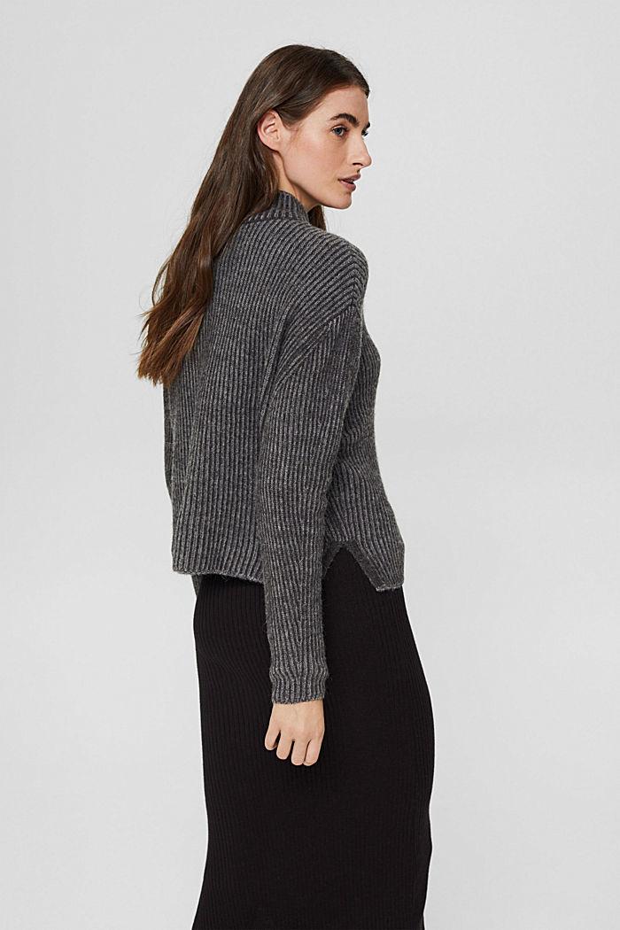En laine mélangée: le pull-over côtelé au look bicolore, GUNMETAL, detail image number 3