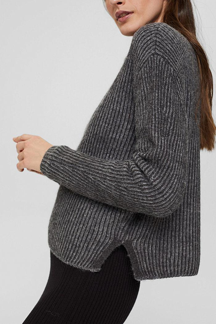 En laine mélangée: le pull-over côtelé au look bicolore, GUNMETAL, detail image number 2