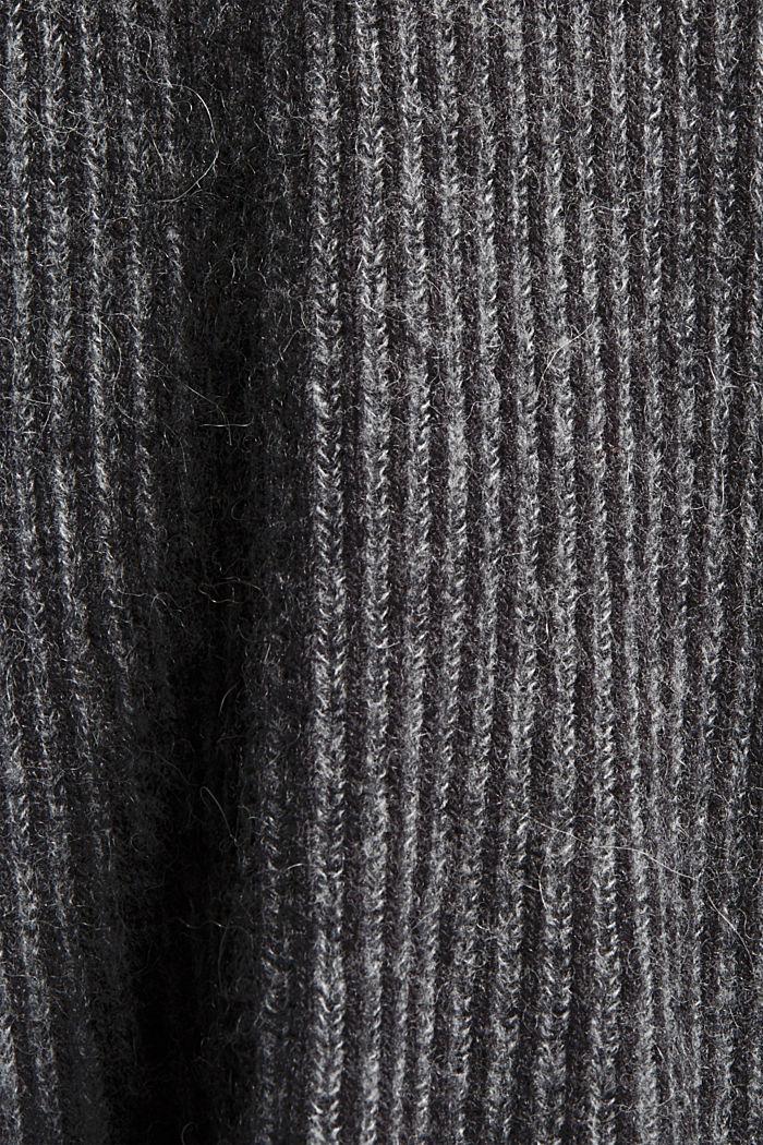 En laine mélangée: le pull-over côtelé au look bicolore, GUNMETAL, detail image number 4