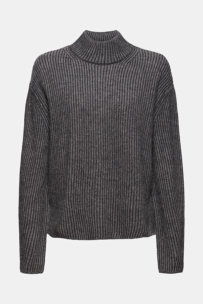 En laine mélangée: le pull-over côtelé au look bicolore, GUNMETAL, detail image number 5