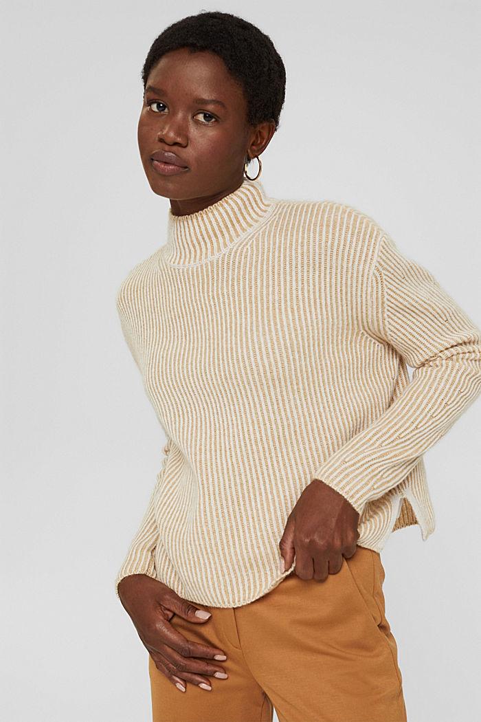 En laine mélangée: le pull-over côtelé au look bicolore, KHAKI BEIGE, detail image number 0