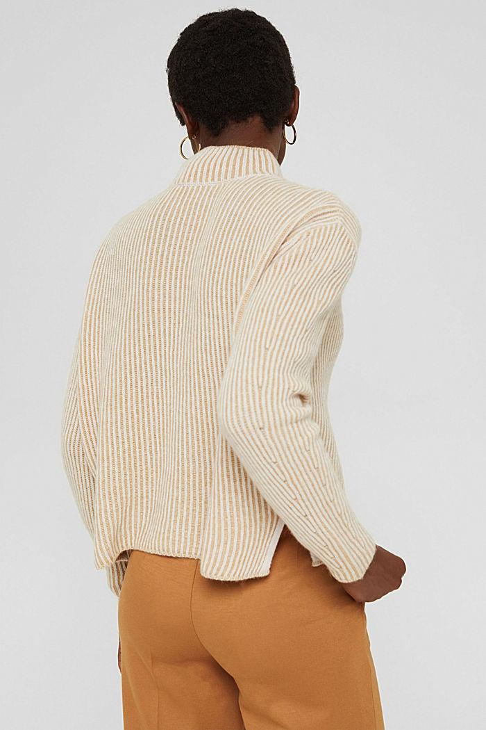 En laine mélangée: le pull-over côtelé au look bicolore, KHAKI BEIGE, detail image number 3
