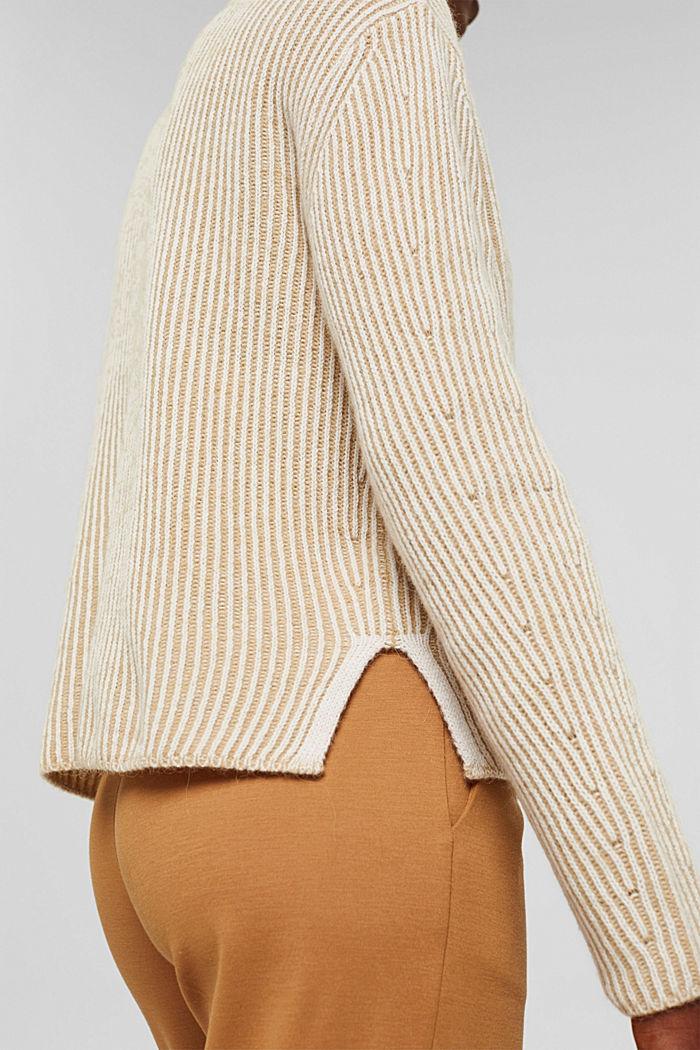 En laine mélangée: le pull-over côtelé au look bicolore, KHAKI BEIGE, detail image number 2