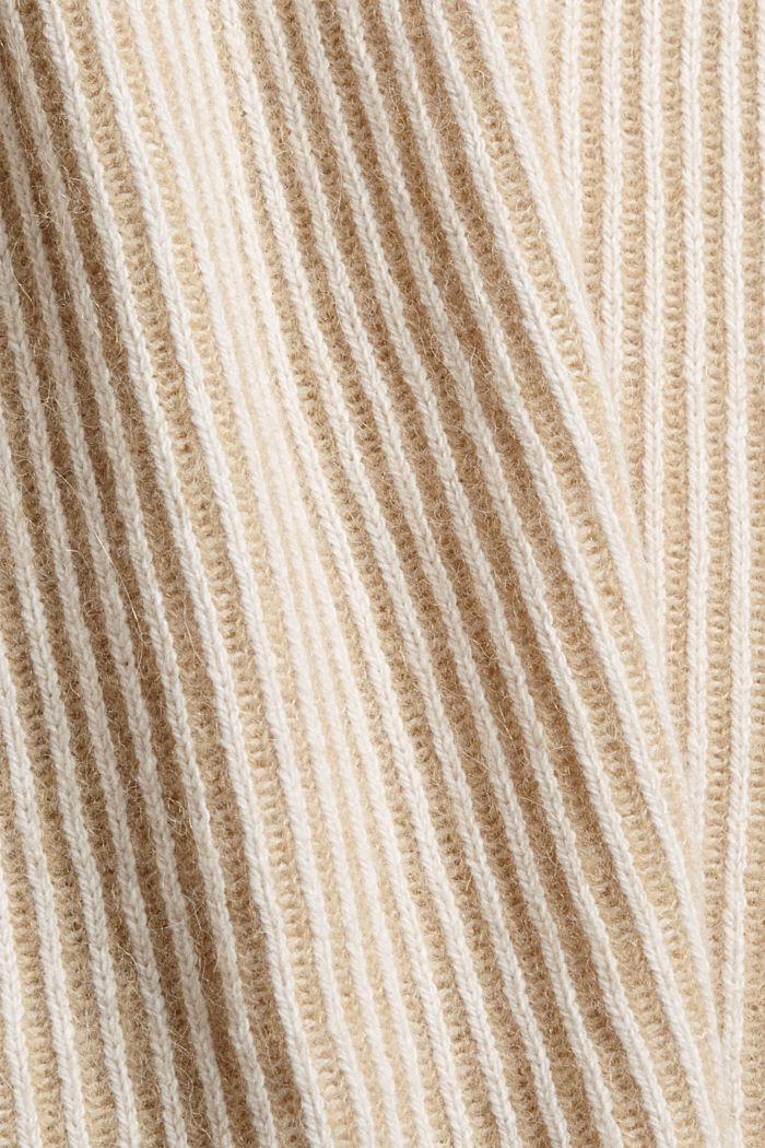 En laine mélangée: le pull-over côtelé au look bicolore, KHAKI BEIGE, detail image number 4