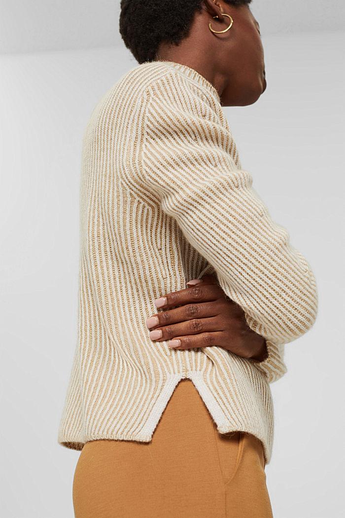 En laine mélangée: le pull-over côtelé au look bicolore, KHAKI BEIGE, detail image number 5