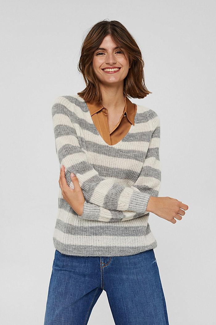 Mit Wolle/Alpaka: Pullover mit V-Ausschnitt, LIGHT GREY, detail image number 0