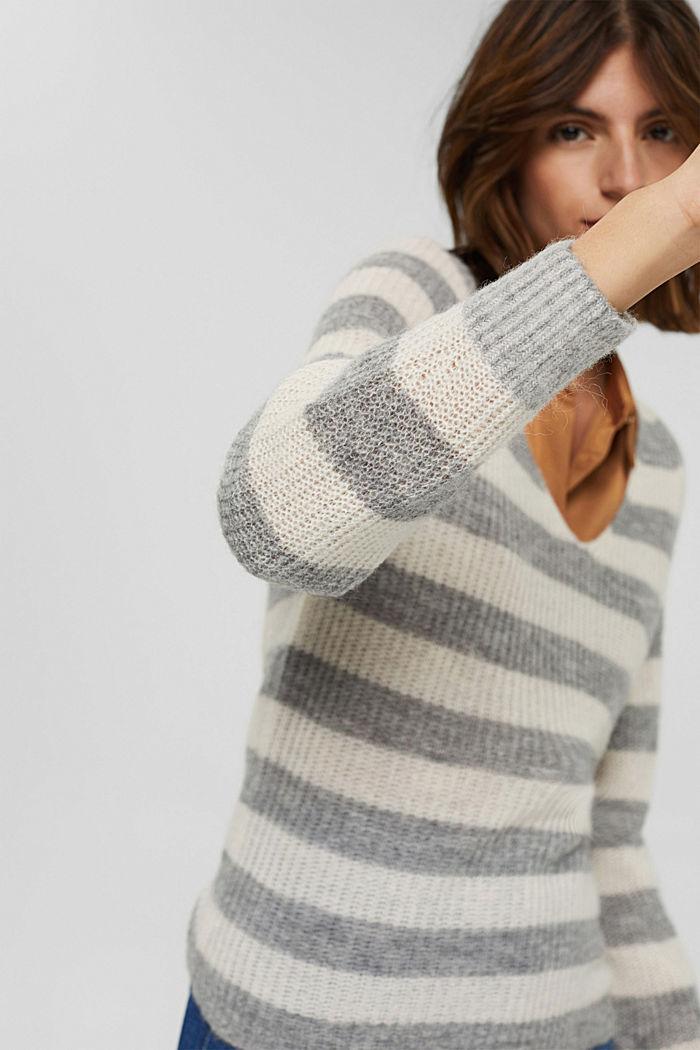 Mit Wolle/Alpaka: Pullover mit V-Ausschnitt, LIGHT GREY, detail image number 5