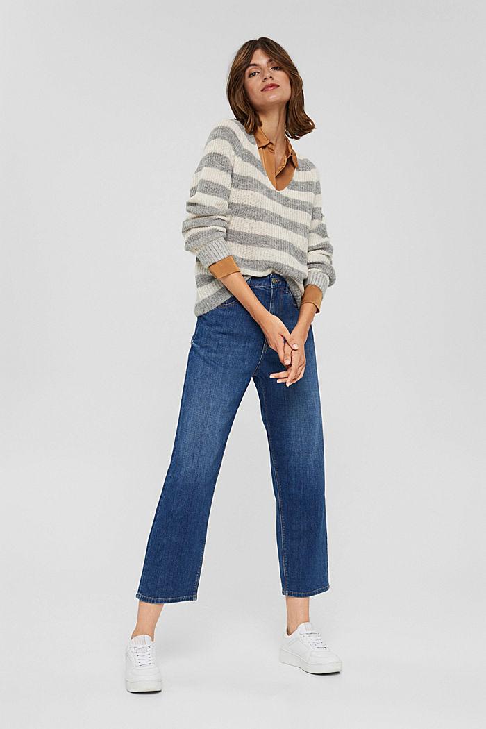 Mit Wolle/Alpaka: Pullover mit V-Ausschnitt, LIGHT GREY, detail image number 1