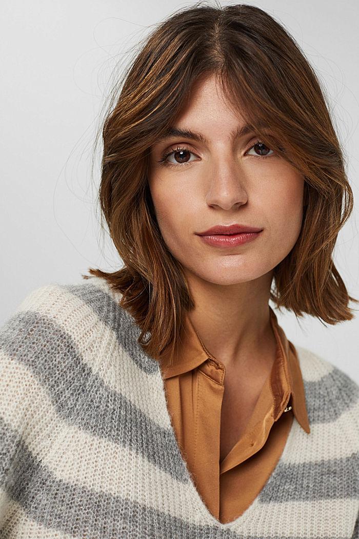 Mit Wolle/Alpaka: Pullover mit V-Ausschnitt, LIGHT GREY, detail image number 6