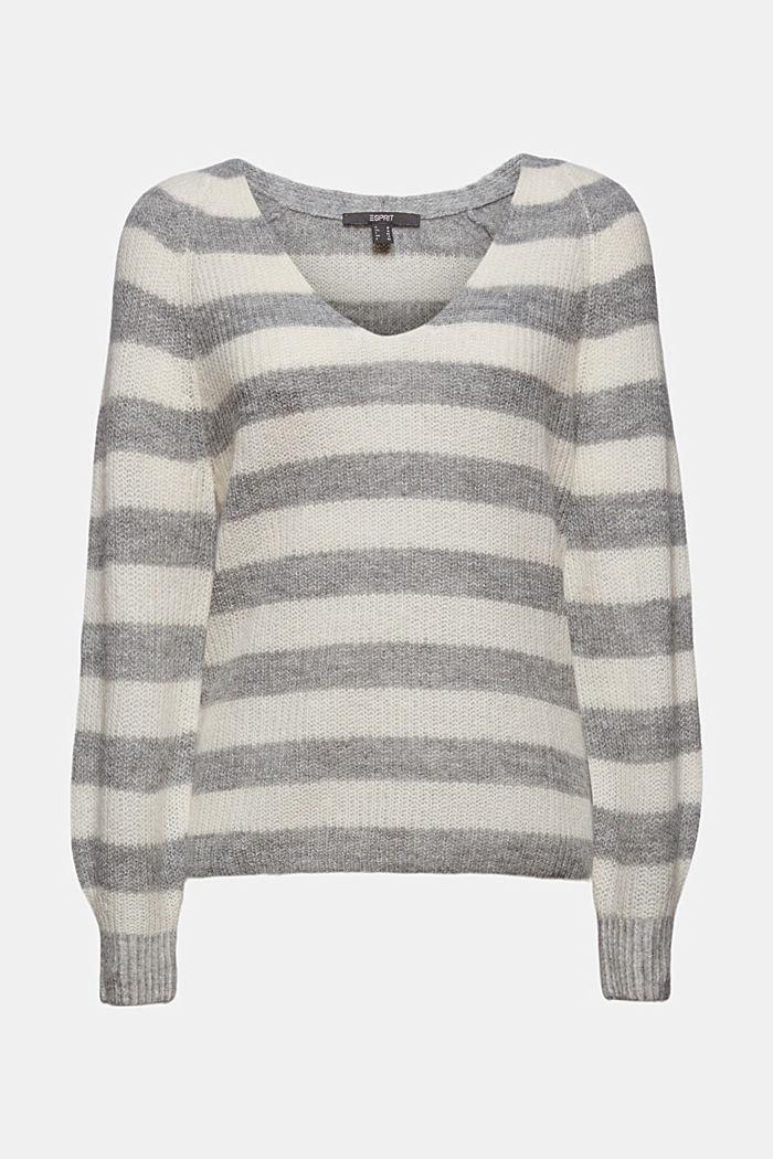 Mit Wolle/Alpaka: Pullover mit V-Ausschnitt, LIGHT GREY, detail image number 7