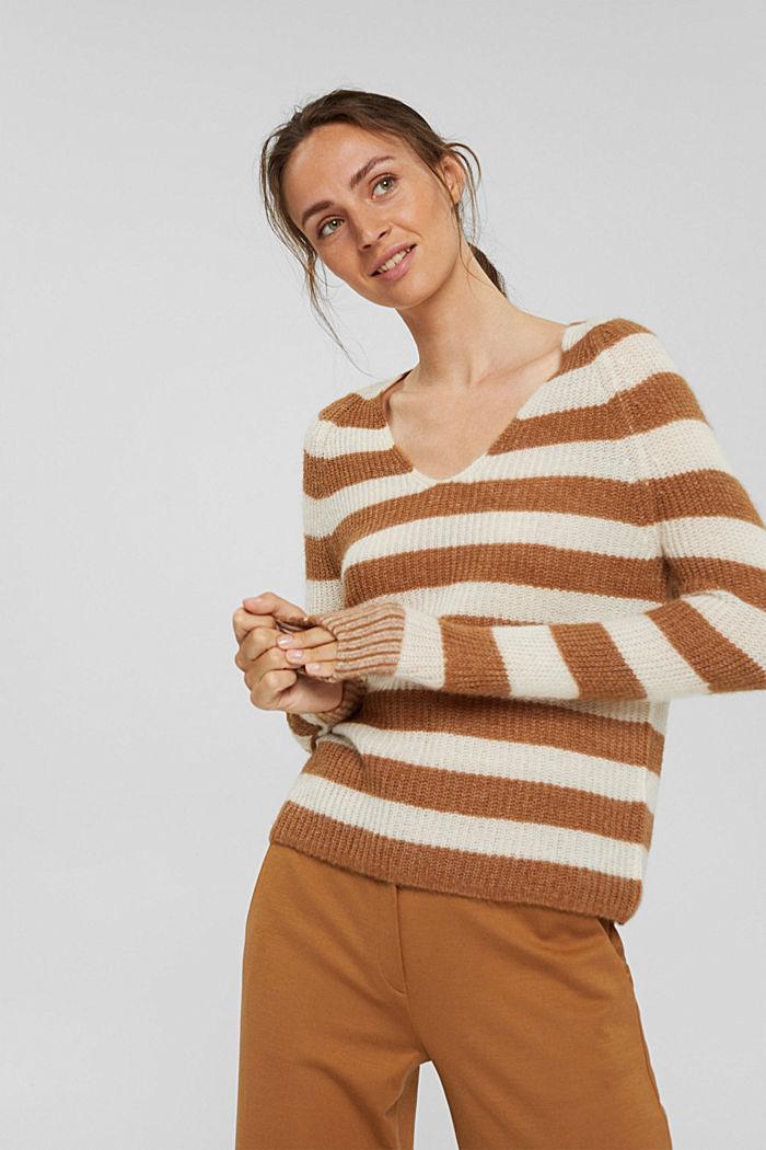 Mit Wolle/Alpaka: Pullover mit Blockstreifen, CARAMEL, detail image number 0