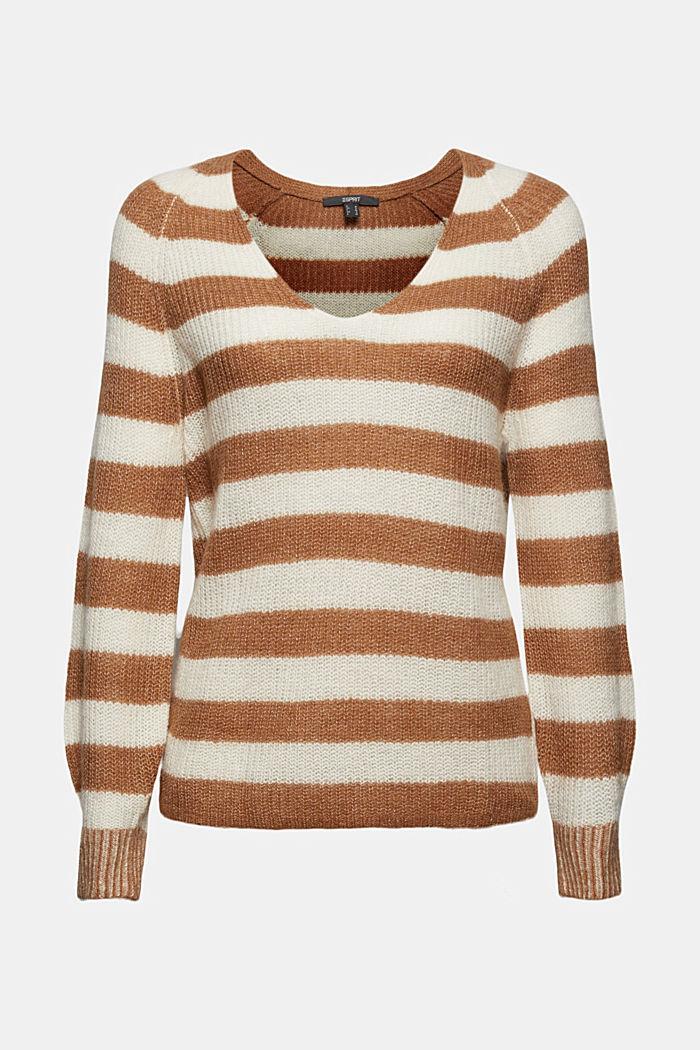 Mit Wolle/Alpaka: Pullover mit Blockstreifen, CARAMEL, detail image number 6