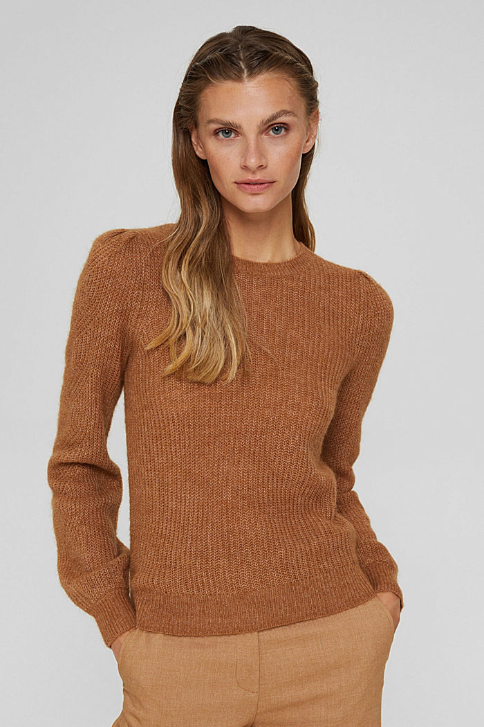 With wool and alpaca: pointelle jumper