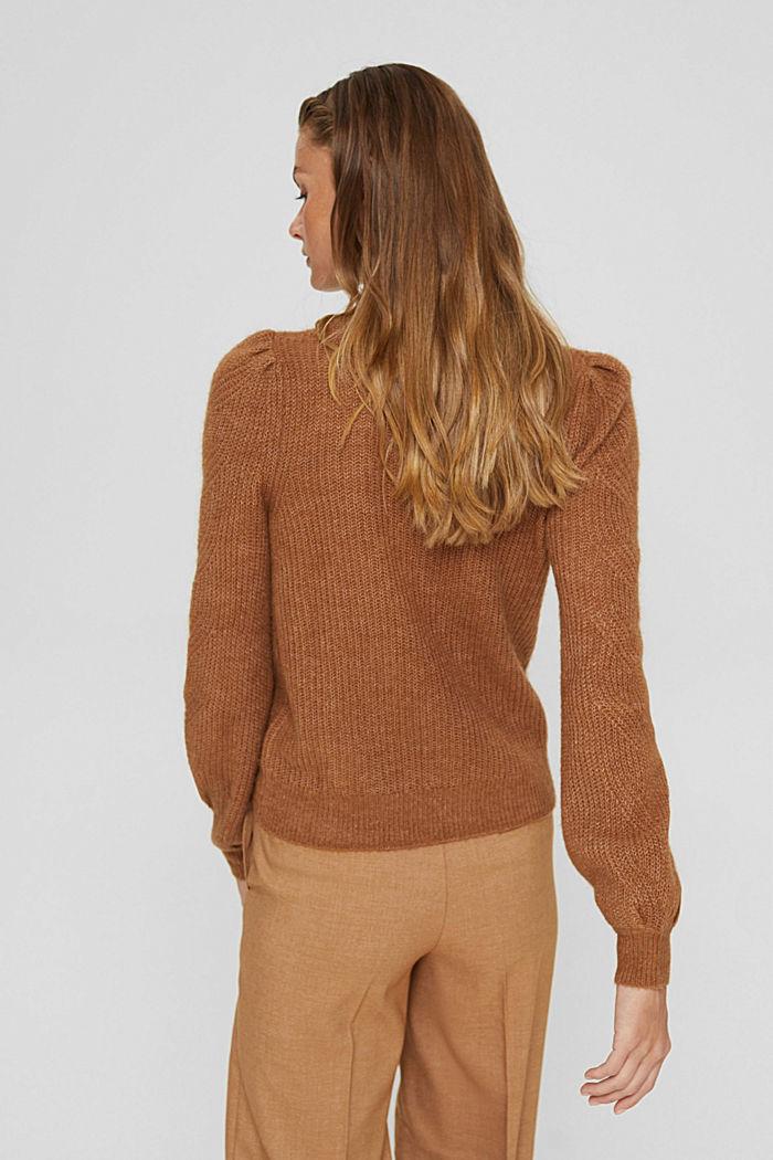 Mit Wolle und Alpaka: Pointelle-Pullover, CARAMEL, detail image number 3
