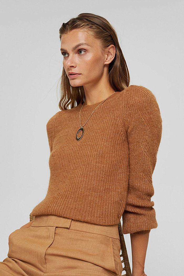 Mit Wolle und Alpaka: Pointelle-Pullover, CARAMEL, detail image number 5