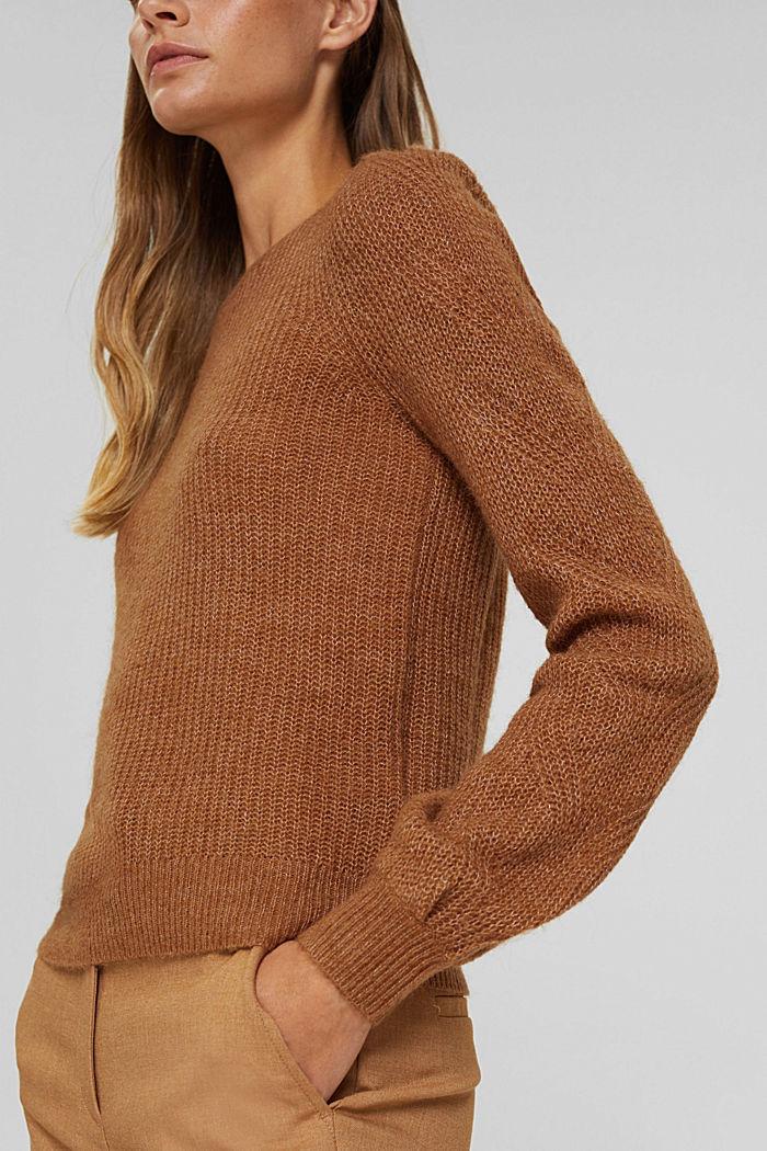 Mit Wolle und Alpaka: Pointelle-Pullover, CARAMEL, detail image number 2