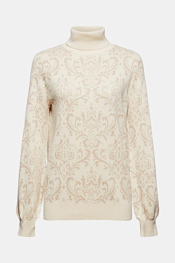 Sweter z golfem i ornamentalnym wzorem