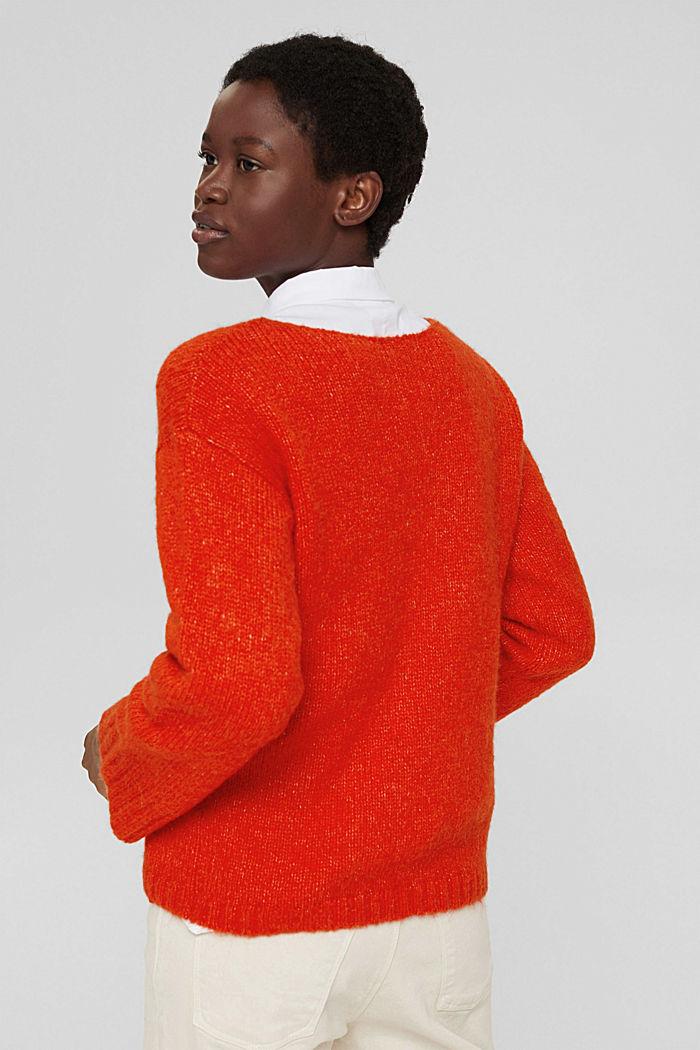 Met wol/alpaca: zachte trui met boothals, ORANGE RED, detail image number 3