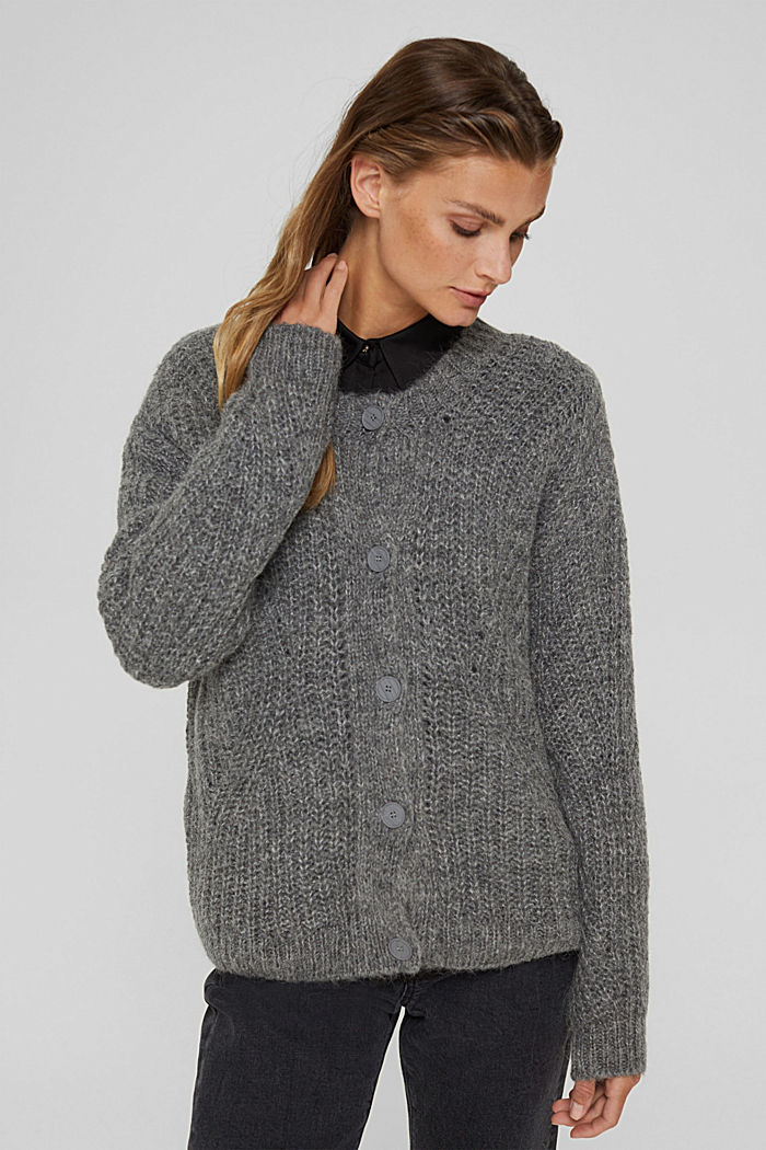 With alpaca: cardigan with textured pattern, GUNMETAL, detail image number 0
