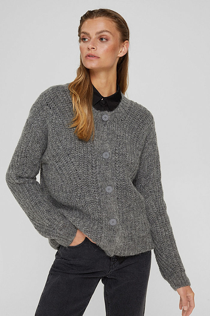 With alpaca: cardigan with textured pattern, GUNMETAL, detail image number 5