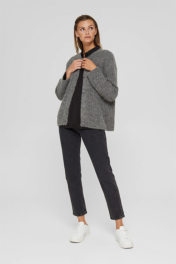 With alpaca: cardigan with textured pattern, GUNMETAL, detail image number 1