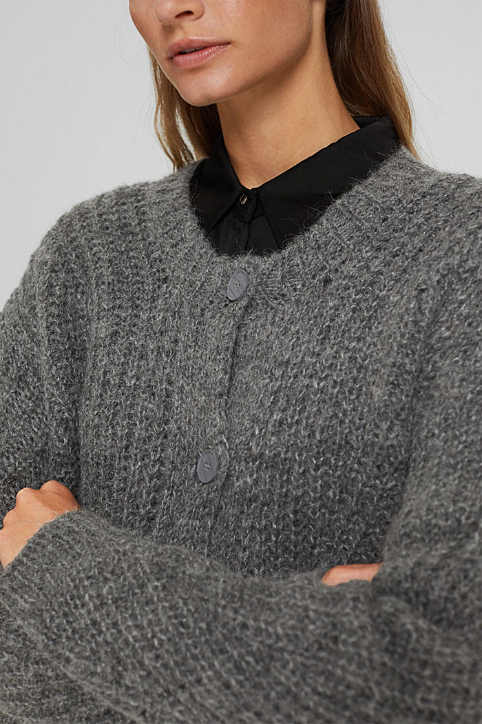 With alpaca: cardigan with textured pattern, GUNMETAL, detail image number 2