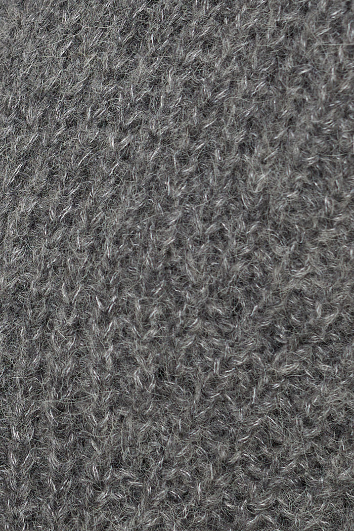 With alpaca: cardigan with textured pattern, GUNMETAL, detail image number 4