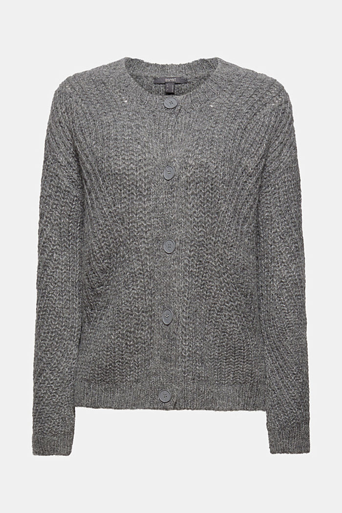 With alpaca: cardigan with textured pattern, GUNMETAL, detail image number 6