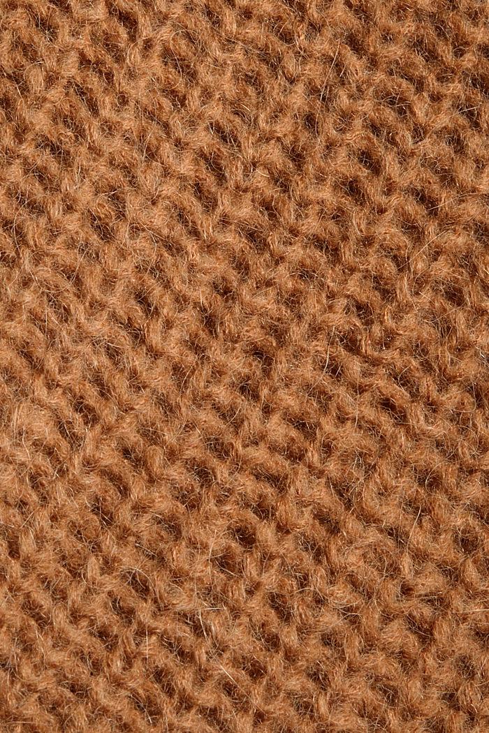 Mit Alpaka: Cardigan mit Strukturmuster, CARAMEL, detail image number 4