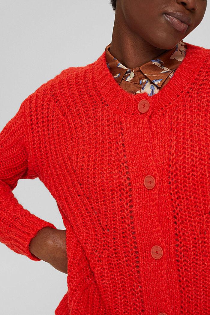 Mit Alpaka: Cardigan mit Strukturmuster, ORANGE RED, detail image number 2