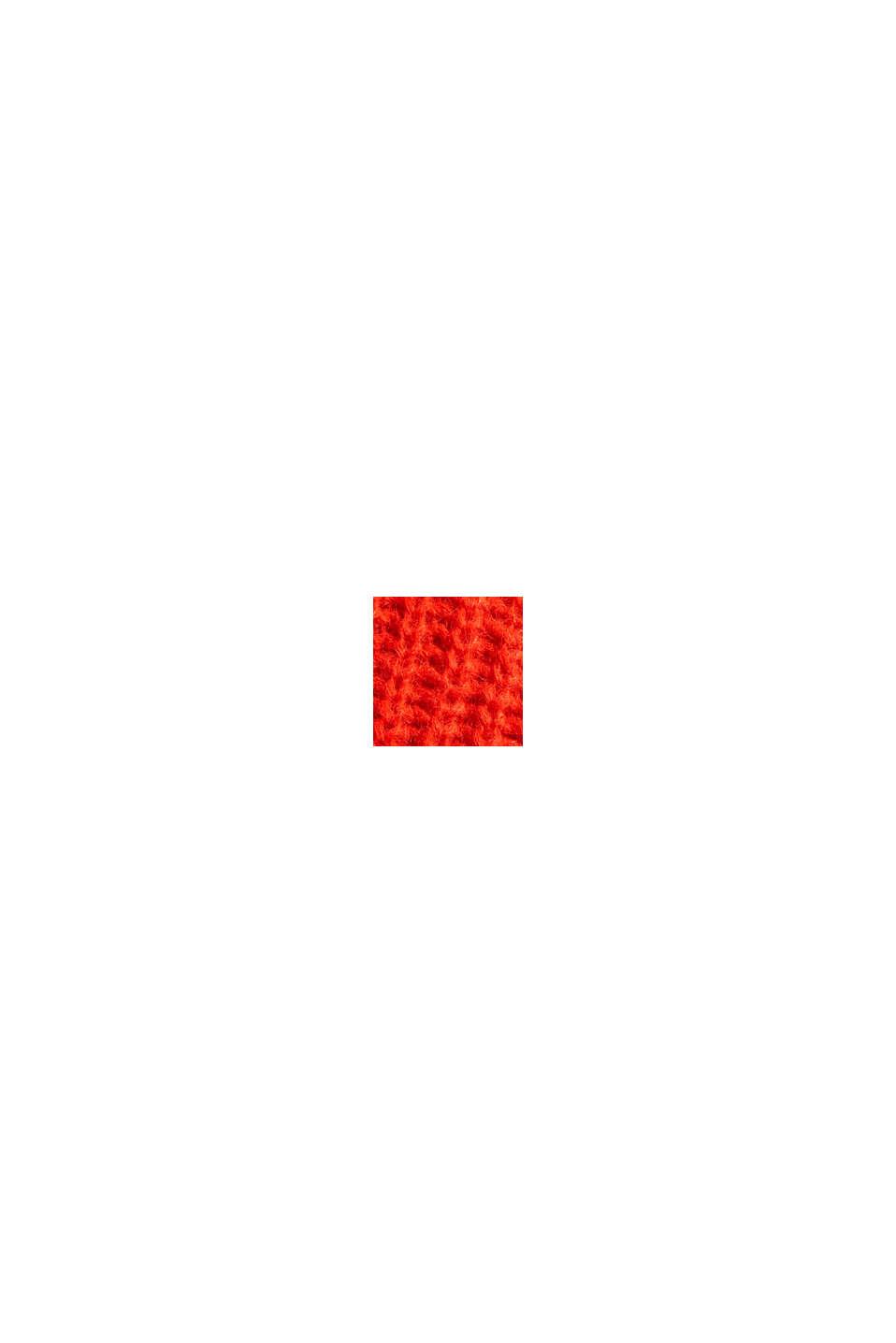 Mit Alpaka: Cardigan mit Strukturmuster, ORANGE RED, swatch