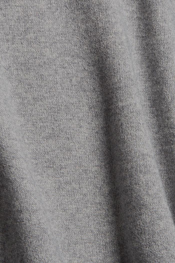 Van wol/kasjmier: trui met ballonmouwen, GUNMETAL, detail image number 4