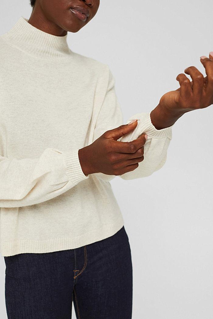 Aus Wolle/Kaschmir: Pullover mit Ballonärmeln, ICE, detail image number 5