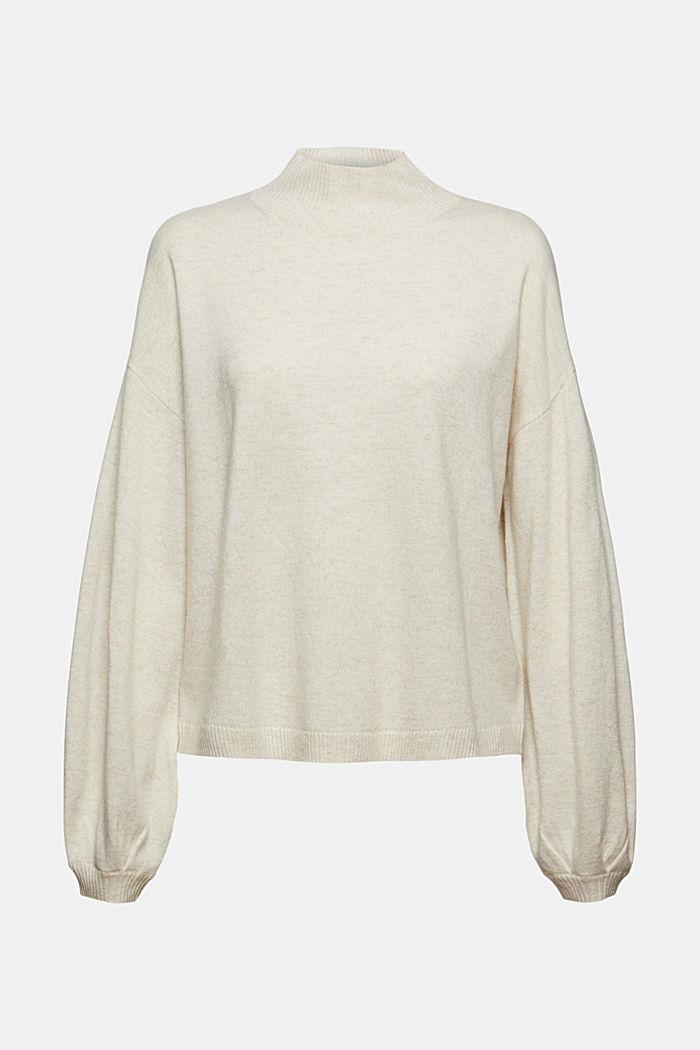 Aus Wolle/Kaschmir: Pullover mit Ballonärmeln