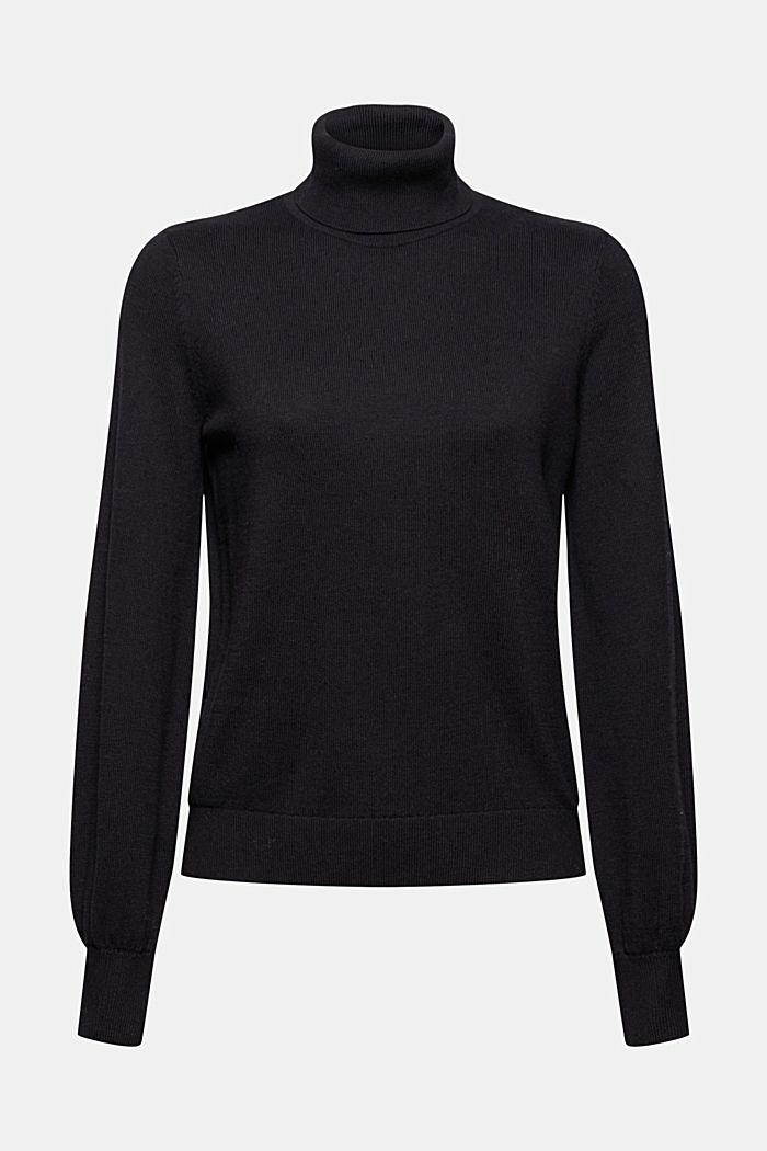 Cashmere blend: polo neck jumper, organic cotton
