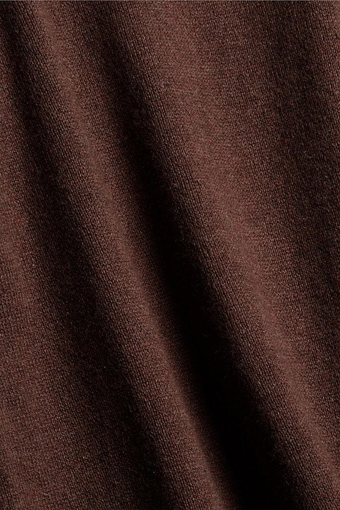 Met kasjmier: coltrui, biologisch katoen, DARK BROWN, detail image number 4