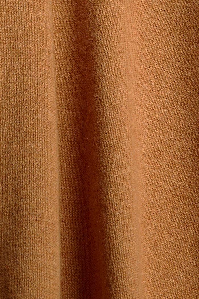 Mit Kaschmir: Rollkragenpullover, Bio-Baumwolle, CARAMEL, detail image number 4