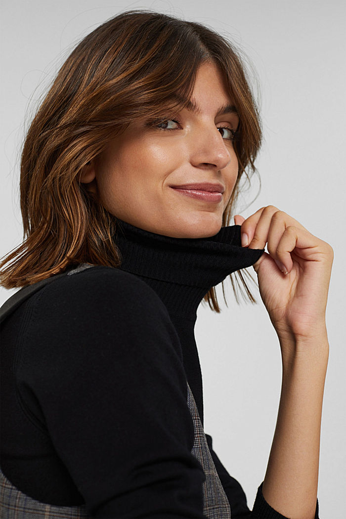 Basic Rollkragen-Pullover, LENZING™ ECOVERO™, BLACK, detail image number 6