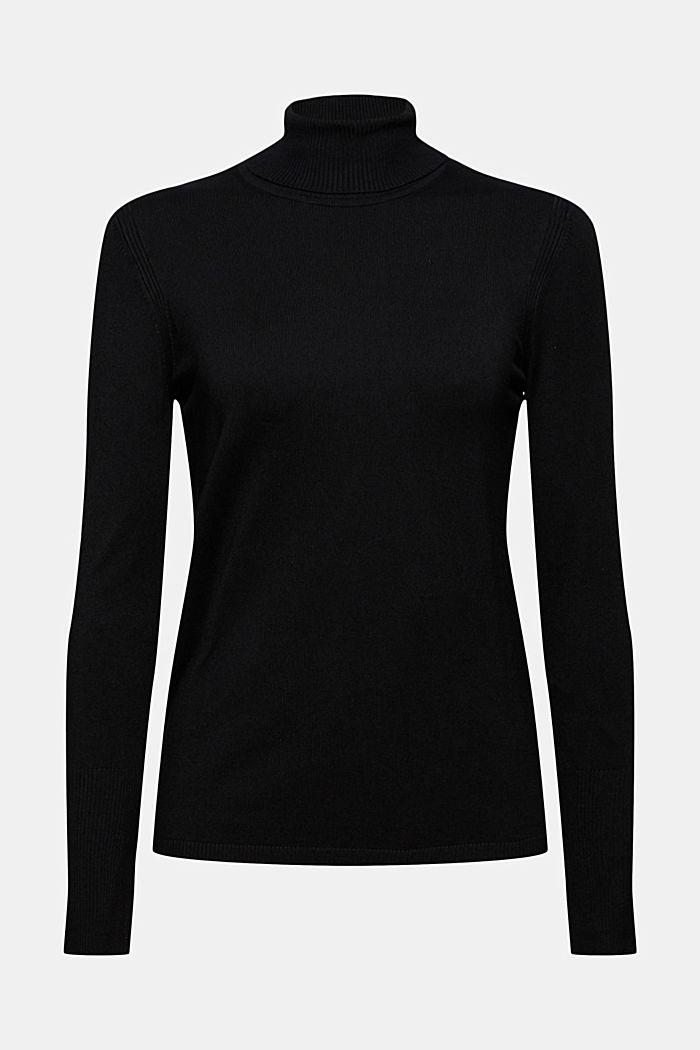 Basic Rollkragen-Pullover, LENZING™ ECOVERO™, BLACK, detail image number 8
